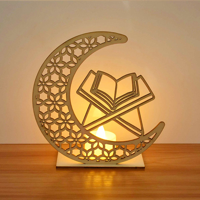 EID Mubarak Wooden Pendant with LED Candles Light Ramadan Decorations For Home Islamic Muslim Party Eid Decor Kareem Ramadan 5