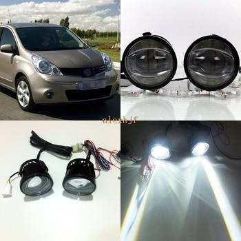 July King 1600LM 24W 6000K LED Light Guide Q5 Lens Fog Lamp +1000LM 14W Day Running Lights DRL Case for Nissan Note E11 2006-09