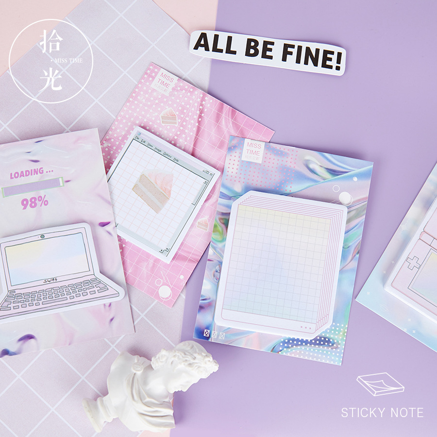 Creative Steam Wave Sticky Notes Kawaii Stationery Memo Pad Bookmarks School Supplies Planner Stickers Post It