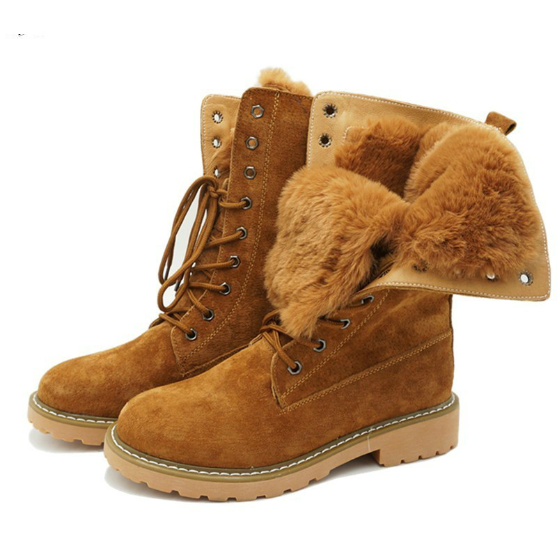 Genuine Leather Fur Lace-up Women's Motorcycle Boots Winter Thick Warm Plush Women Mid Calf Snow Boots Woman Military Shoes