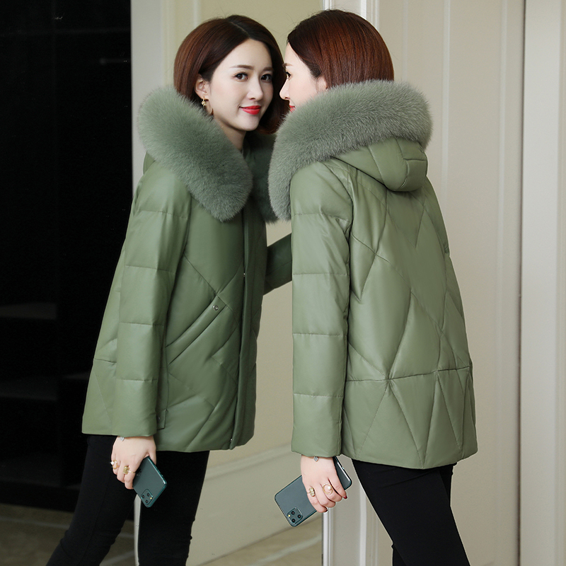 100% Real Fox Fur Hooded Sheepskin Coat Female Winter Warm Duck Down Jacket Women Korean Genuine Leather Down Coats 2089