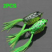2 Pz/lotto Morbido Rospo Frogs Bass Richiamo di Pesca Hollow Body Top acqua Rane Esche Da Pesca Esche(China)