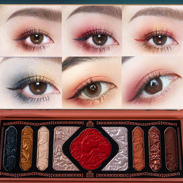 New Chinese Ancient Phoenix Embossed Eyeshadow Palette Palace Luxury Eye shadow Sequins Waterproof Eye Cosmetics Makeup Palettes 3