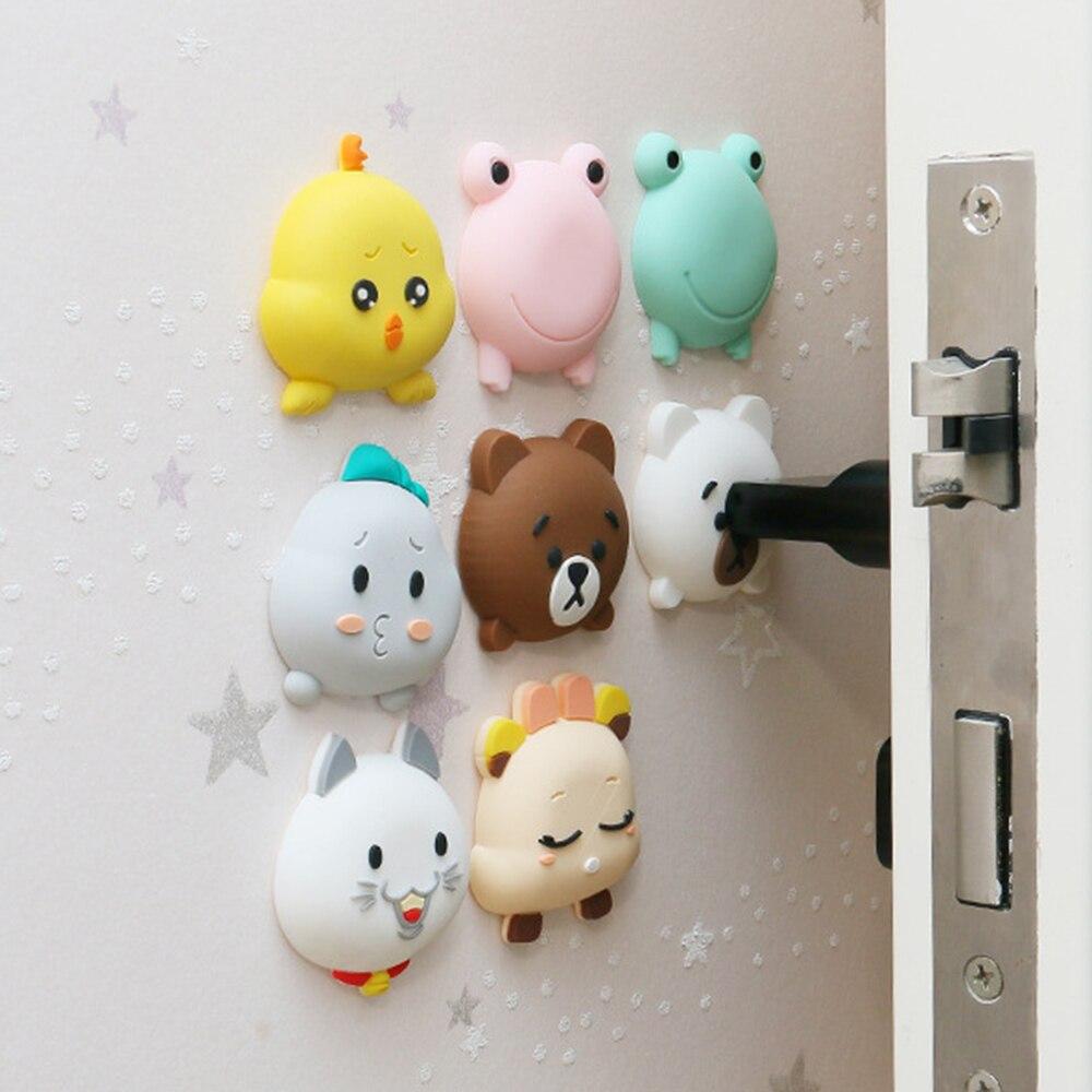 4 Packs Baby DoorLock Protector Cartoon Silicone Crash Pad Doorknob Shock Mat Pad Silent Mute Touch Pad Door Handle Collision
