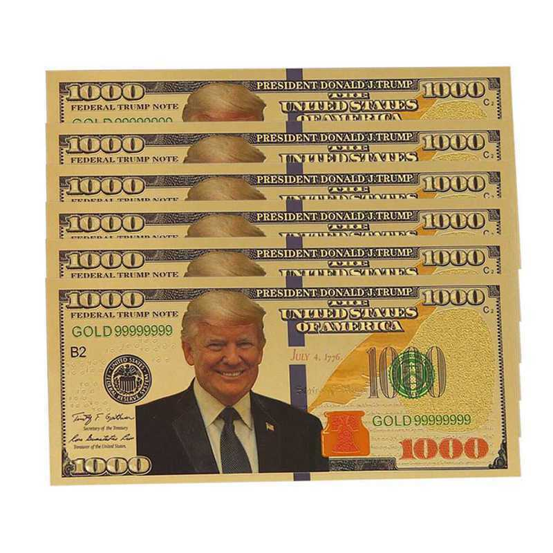 10pcs US Donald Trump Commemorative Coin President Banknote Non-currency $1000 image