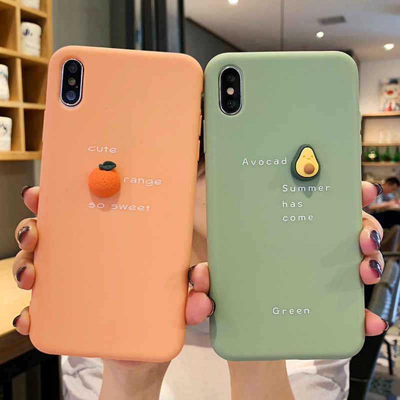 Lovebay Lucu 3D Pola untuk iPhone X Max XR X 8 7 6 6S Plus Buah Alpukat peach Soft Silicone Anti-Knock Back Cover