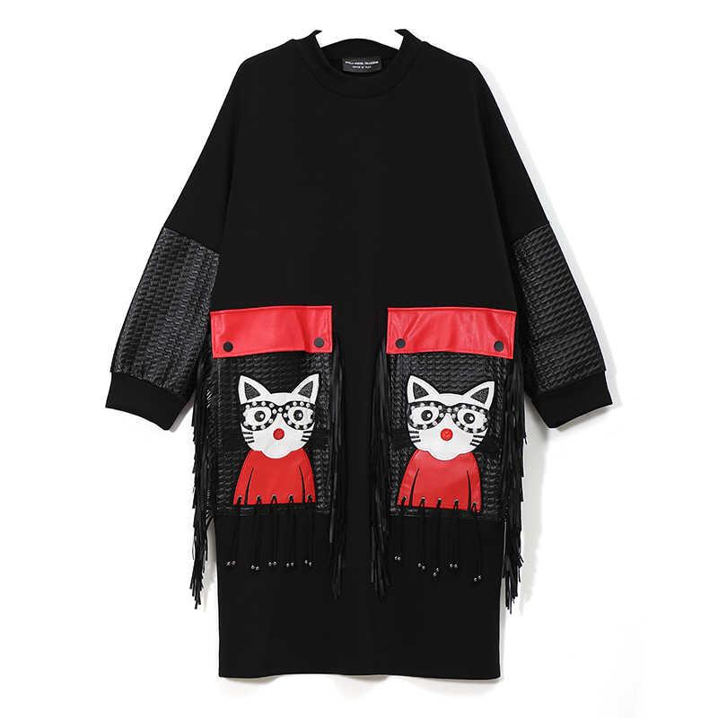 ¡Novedad de 2019! Vestido Midi negro de Otoño Invierno para mujer, vestido de talla grande de manga larga con dibujo de PU, bolso grande y con flecos, vestido bonito para mujer, bata 3084