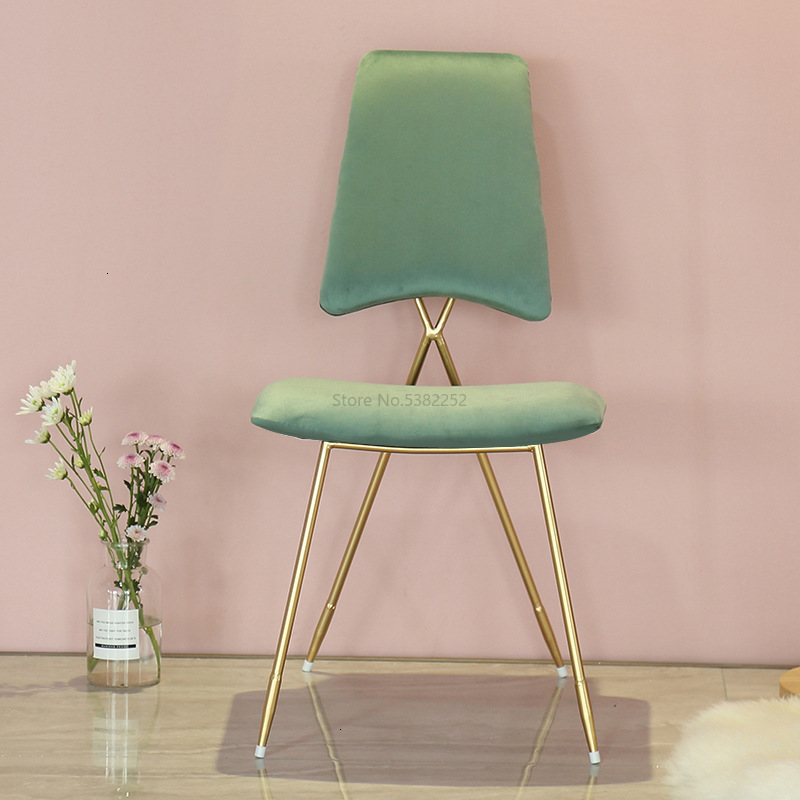 Nordic Iron Dress Chair Back Modern Minimalist Gold Creative Single Chair Bedroom Lounge Chair Makeup Stool