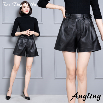 2020 Women New Real Genuine Sheep Leather Shorts KS56