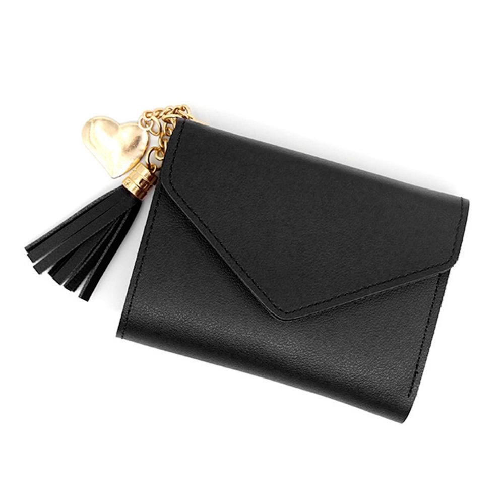 2020 New Fashion Women Simple Short Wallet Tassel Coin Purse Card Holders Handbag  Short Mini PU Leather Bags
