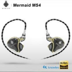 HIDIZS hybrydowy sterownik (3 Knowles BA + 1 DD) MS4 HIFI słuchawki douszne IEM z 2 Pin 0.78mm odłączany kabel w Słuchawki douszne od Elektronika użytkowa na