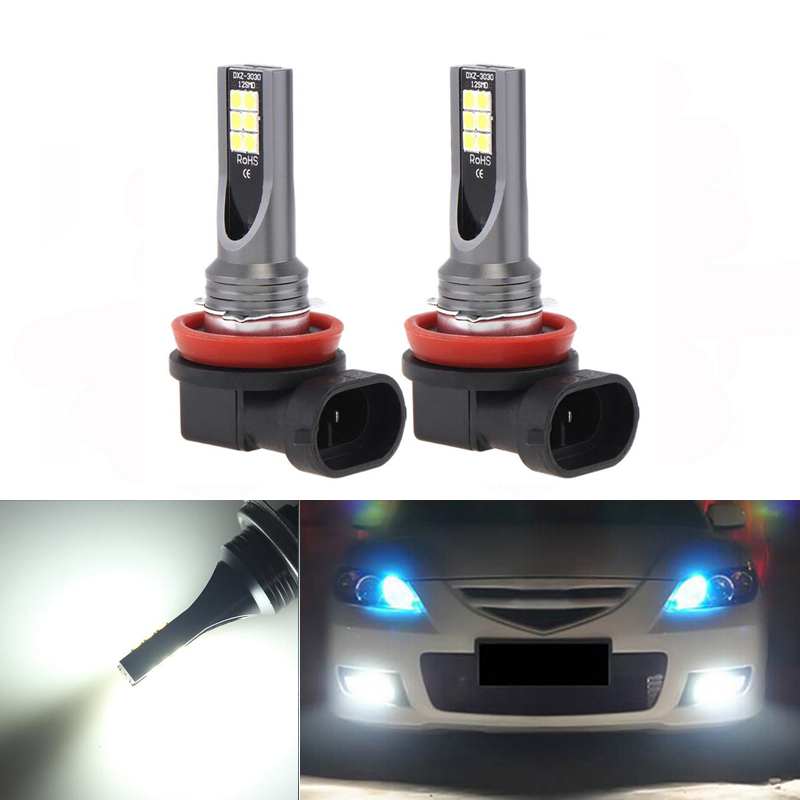 2x H11 LED canbus <font><b>3030</b></font> Bulbs Reflector Mirror Design For Fog Lights For mazda 3 5 <font><b>6</b></font> xc-5 cx-7 axela atenza image