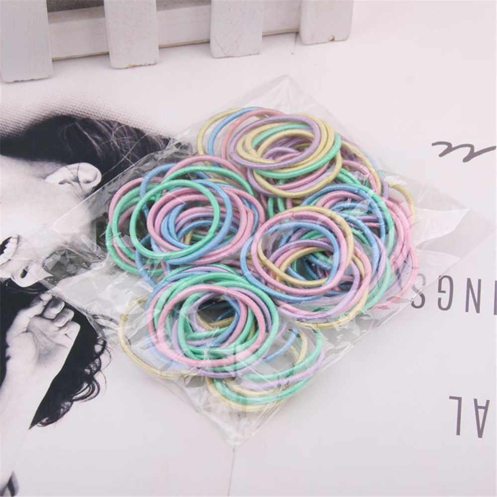 100 sztuk/partia 3CM akcesoria do włosów dziewczyny opaski gumowe elastyczne gumki do włosów dzieci dziecko pałąk ozdoby krawaty guma do włosów