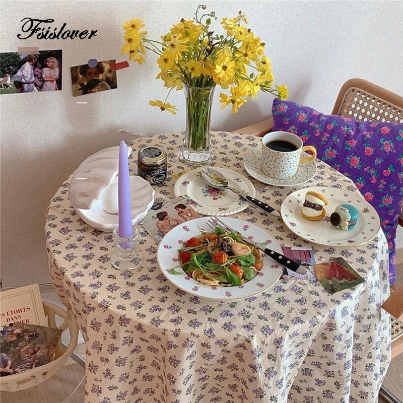 FSISLOVER Korea Ins Floral Table Cloth Cotton Tablecloth Photography Backdrops Dining Table Cover Korea Chic Picnic Tablecloth