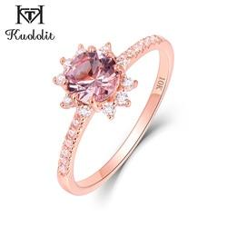 Kuololit 10K różowe złoto Morganite pierścienie z kamieniami szlachetnymi dla kobiet różowy kamień szlachetny panna młoda pierścionki zaręczynowe Handmade Fine Jewelry