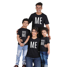 Fashion Family Matching Clothes Casual 100% Cotton Mommy Daddy Kid Printed Letters Party Short Sleeve T-Shirt