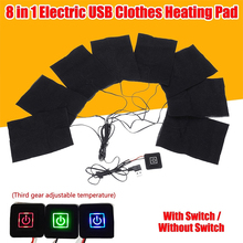 8 in 1 USB Charged Clothes Heating Pad 3 Gear adjustment Warmer Pads DIY Thermal Clothing Outdoor Heated Jacket Vest