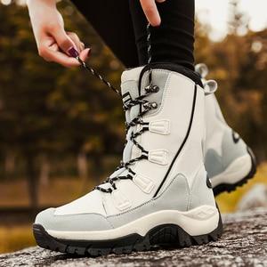Image 3 - UPUPER שלג מגפי אישה חורף מגפי 2019 נוחות חם נשים של חורף נעלי עקבים פלטפורמת מגפיים עם פרווה חדש Botas mujer