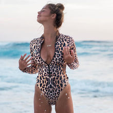 Leopard Swimsuit One Piece Long Sleeve Zipper Sexy Bodysuit Women Push Up Swimwear Monokini Female Brazilian Bathing Suit 20Feb(China)