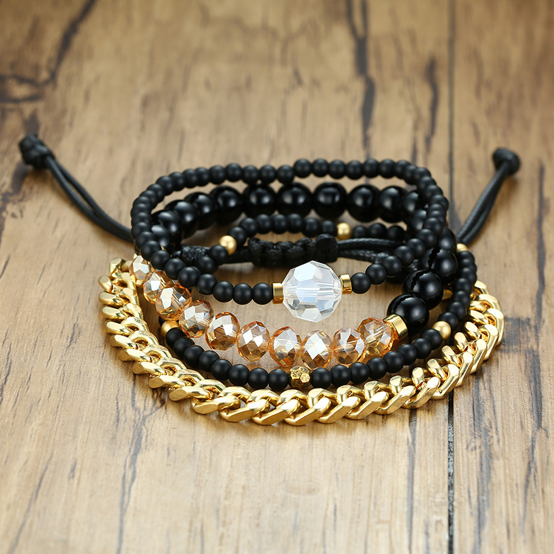 Vnox Bracelet Sets Beads Link Chain Mixed Men Women Holiday Wristband Unique Wood Jewelry