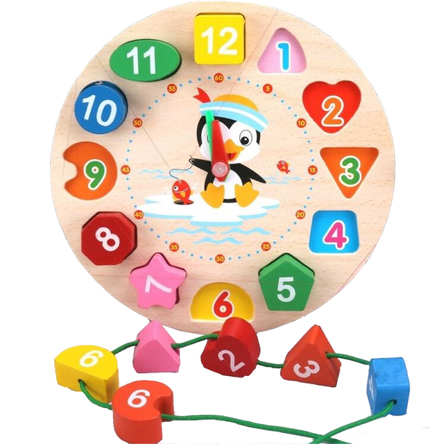 Montessori Cartoon Animal Educational Wooden Beaded Geometry Digital Clock Puzzles Gadgets Matching Clock Toy For Children 2