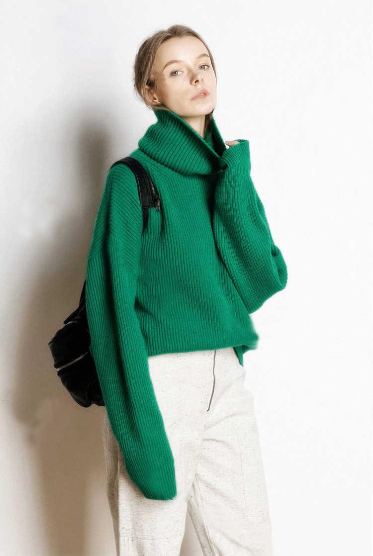 Outono e inverno nova alta-neck sweater cashmere grossa feminino curto parágrafo solto cabeça das senhoras camisola de malha assentamento camisa