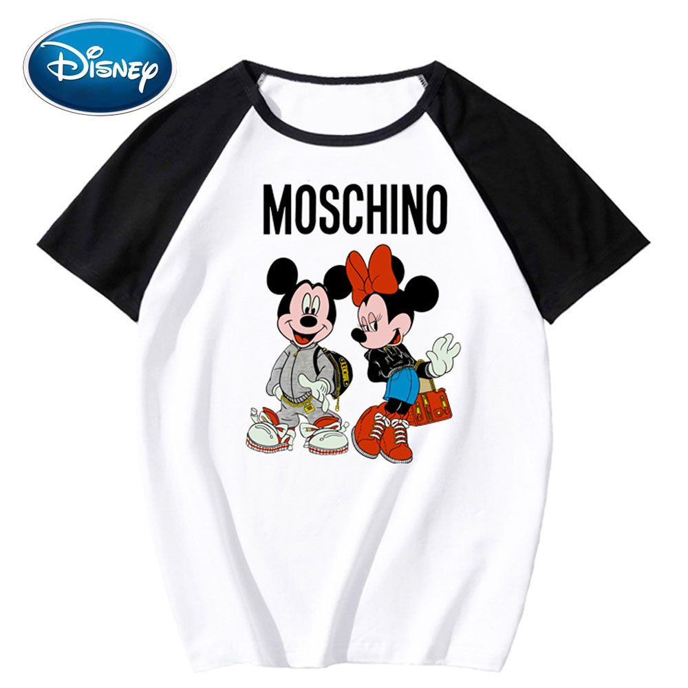 Disney Stylish Mickey Minnie Mouse Cartoon Print O-Neck Pullover Short Sleeve Contrast Color T-Shirt Unisex Loose Tops 9 Colors