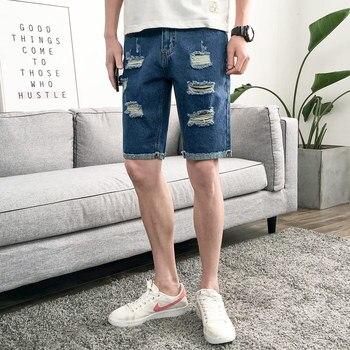 Thin Section Denim Shorts Men Straight Summer Pop Casual Shorts Men Cotton Large Size Fashion Knee Length Denim Shorts фото