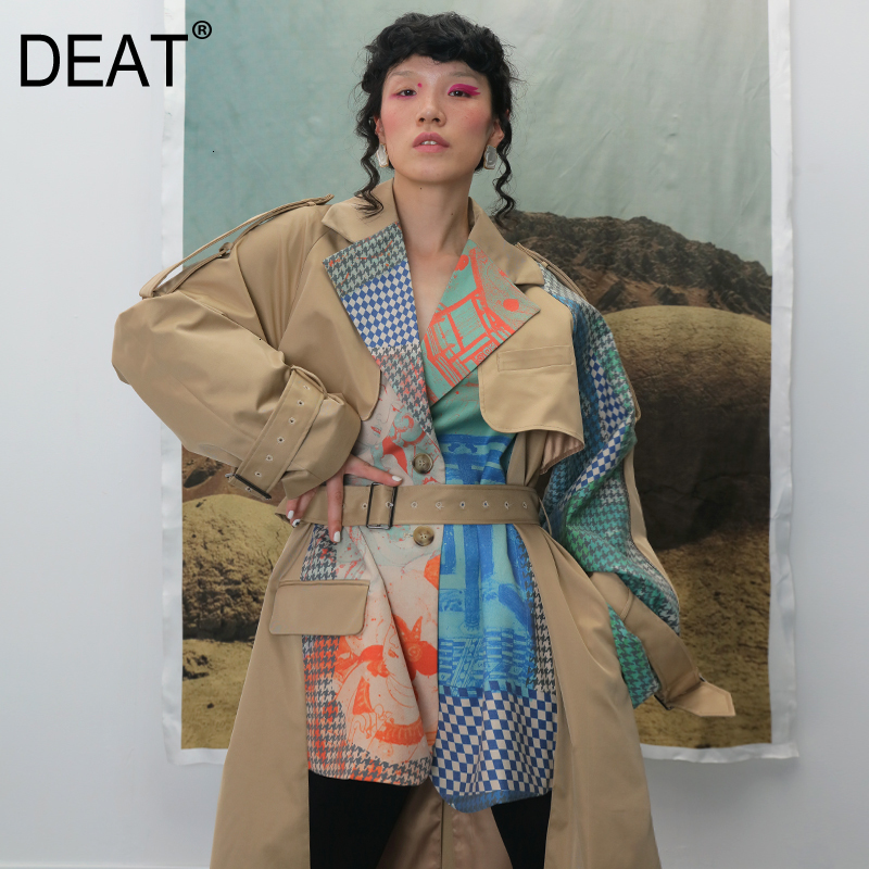 DEAT Autumn And Winte Turn-down Collar Patchwork Printed Maps Batwing Sleeves Waist Belt Female Trench Coat Loose WJ27004L