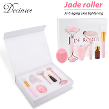 6PCS/Set Rose Jade Roller Gua Sha Set Face Brush Natural Quartz Scraper Jade Stone Massage Facial Massager Tool for Body Neck