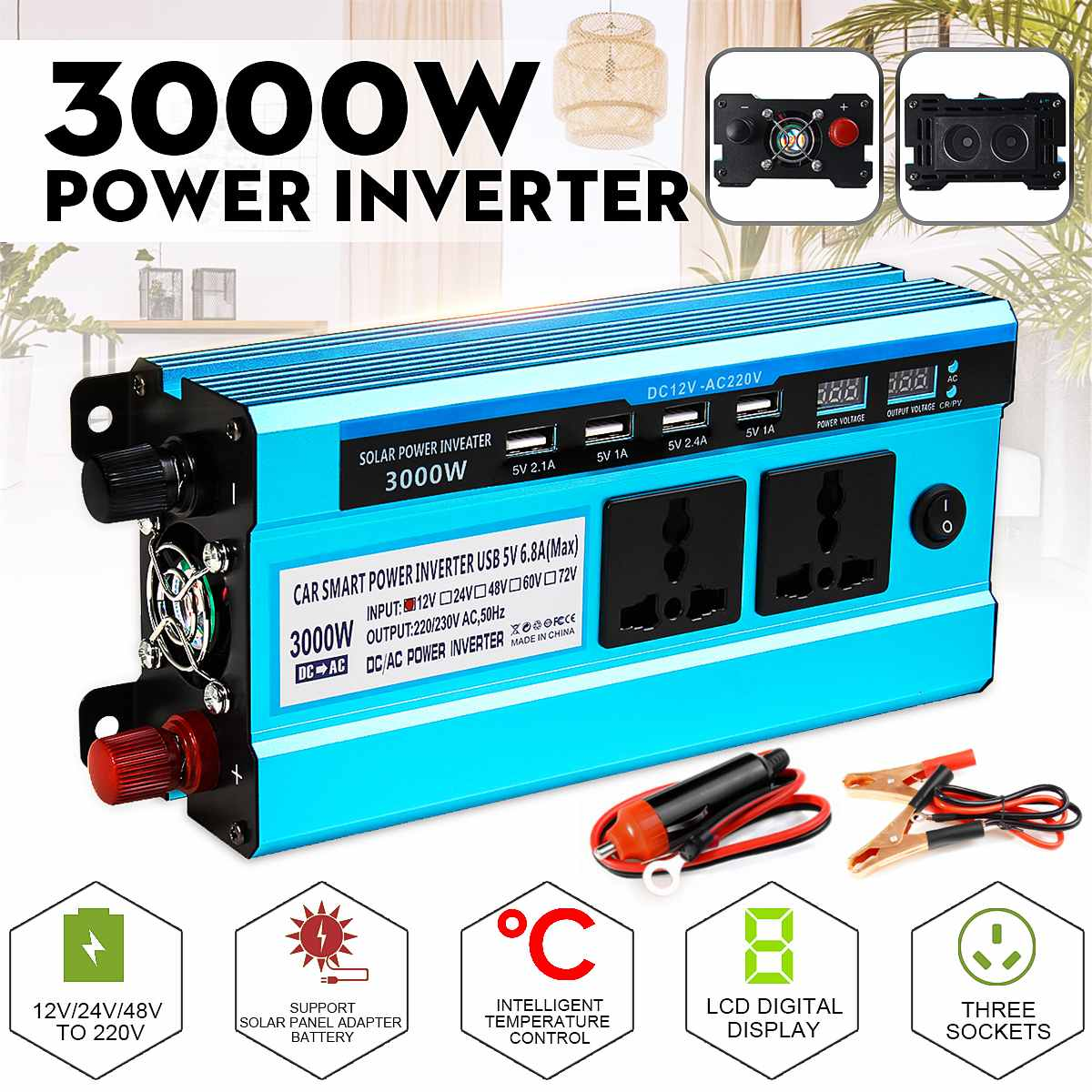 3000W Inverter DC 12V 24V 48V zu AC 220V Spannung Konverter Transformator Solar Inverter Doppel LCD Display 4USB
