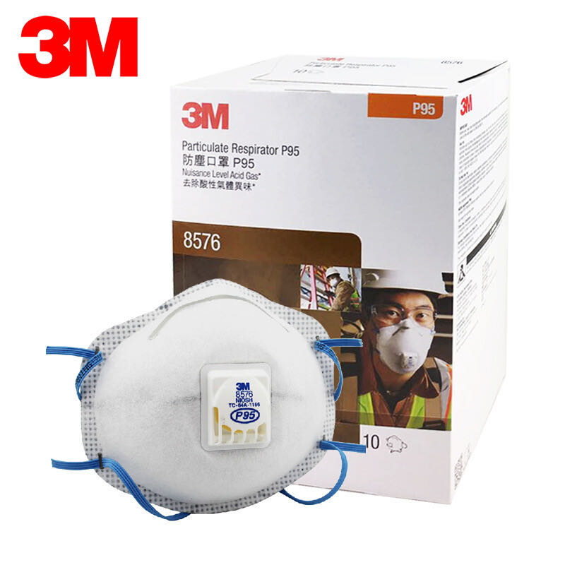3M P95 Original 8576 Gas Mask Particulate Respirator P95 Acid Gas Relief Cool Flow Valve Sulfur Dioxide Hydrogen Fluoride