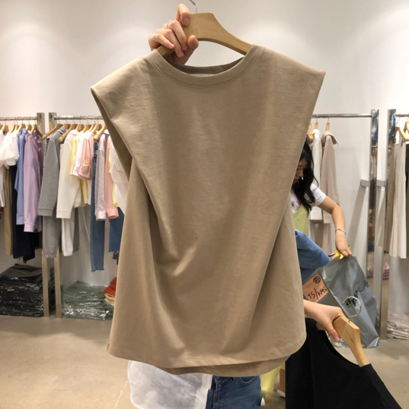 Sleeveless T Shirts Women Summer 2020 New Arrival Korean O Neck Basic Tees Solid Casual Cotton Female Tops