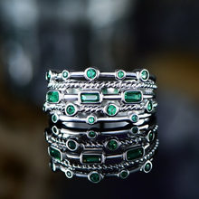 Dainty Geometry Zircon Engagement Ring Vintage Female Green Crystal Stone Ring Classic Silver Color Big Wedding Rings For Women