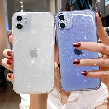 Dla iPhone 12 11Pro XR XS Max X fluorescencyjny brokat cukierki przypadku telefonu przezroczysty lśniący miękki TPU dla iPhone 7 8 Plus SE 2020 tanie i dobre opinie LUPWAY APPLE CN (pochodzenie) Other Transparent Glitter Sequins Soft TPU Phone Case przezroczyste Zwykły For iPhone 12 11Pro Max Transparent Shiny Glitter Fundas Back Cover