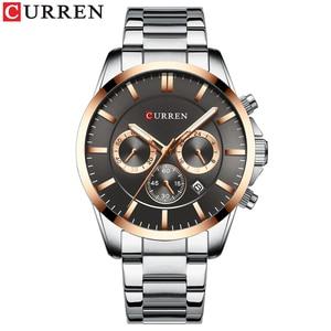 Image 2 - Reloj Hombres luksusowej marki CURREN kwarcowy z chronografem zegarki mężczyźni przyczynowy zegar pasek ze stali nierdzewnej Wrist Watch Auto data