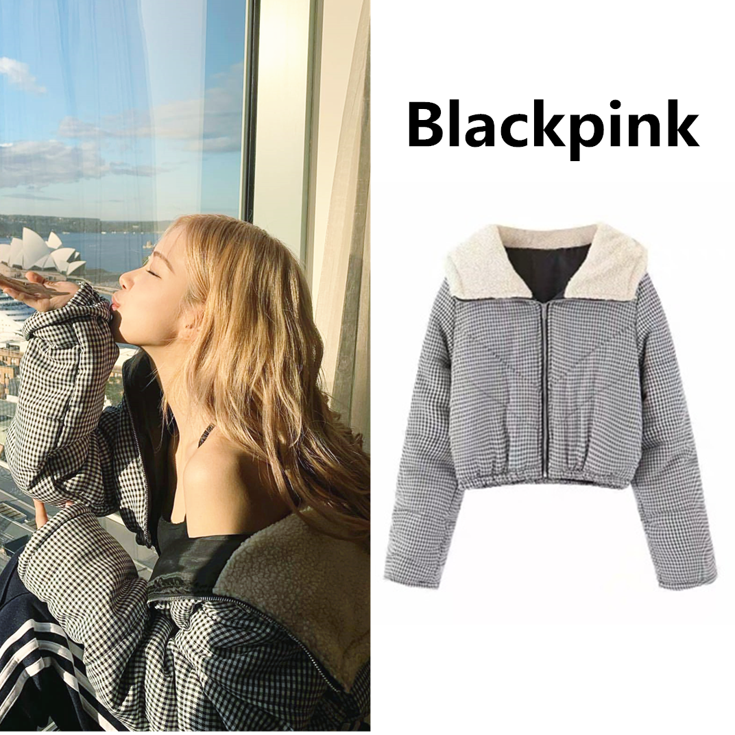 Kpop Blackpink Rose Same Black And White Plaid Hooded Sweatshirt Lady Winter New Plus Thick Warm Short Zipper Hoodies Women Coat