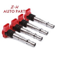 New 4PCS Red Ignition Coil 06C 905 115 L For Audi A4 A6 Quattro 2001-2005  3.0L V6 UF483 C1471 5C1470 M