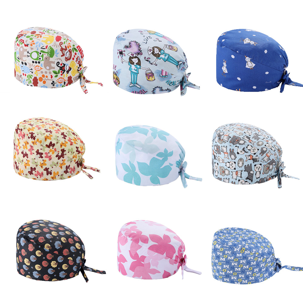 Cute Patterns Surgical Caps Medical Scrub Cap Veterinarian Nurse Doctor Work Scrub Caps Cotton Summer Dentist Work Hat