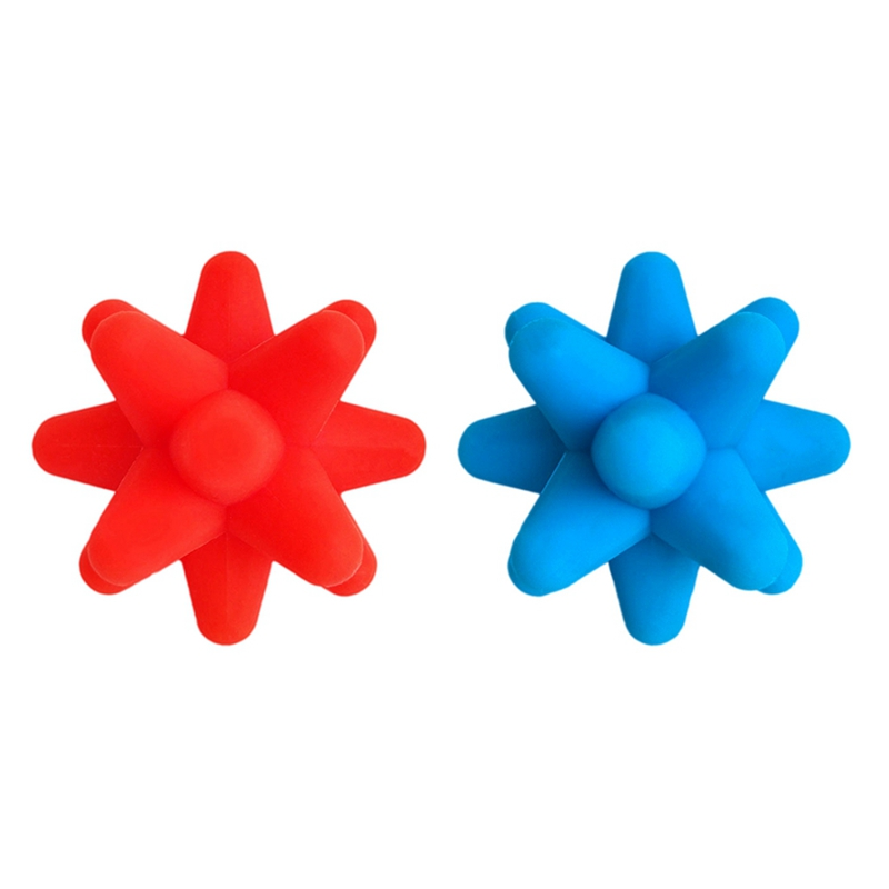 2 Pcs Sports Fitness Fascia Muscle Relaxation Back Arm Leg Body Massage Roller Ball Accessories Red & Blue