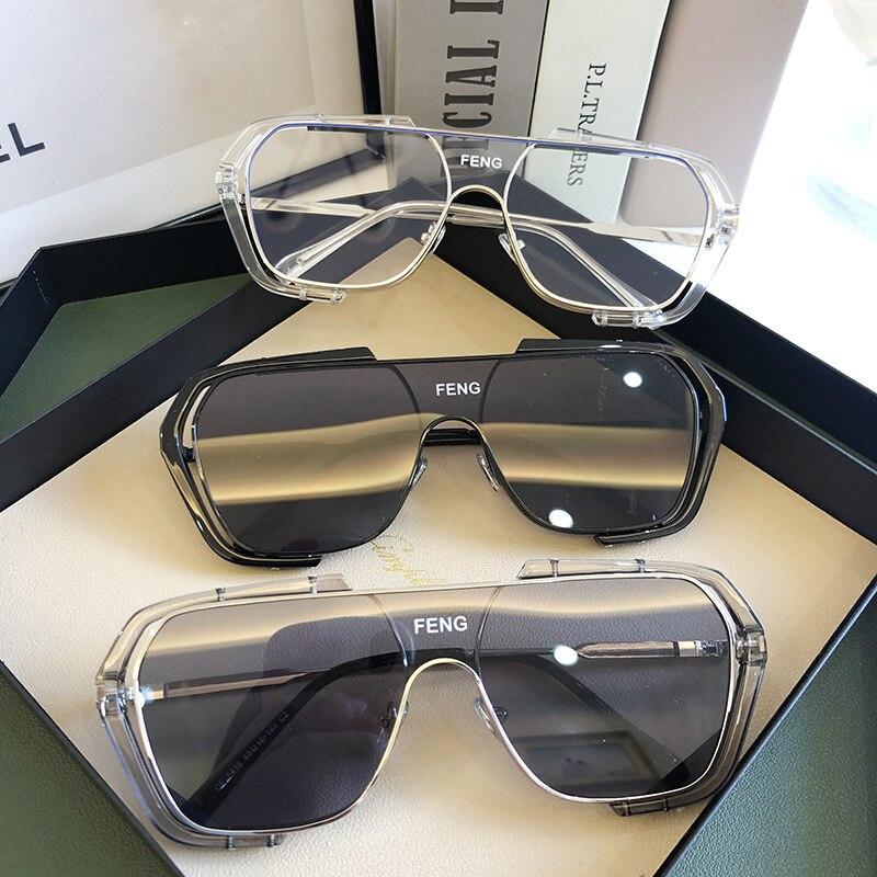 Новинка, цельные желтые солнцезащитные очки 2020, высокие модные солнцезащитные очки в стиле стимпанк, прозрачные линзы, солнцезащитные очки ...
