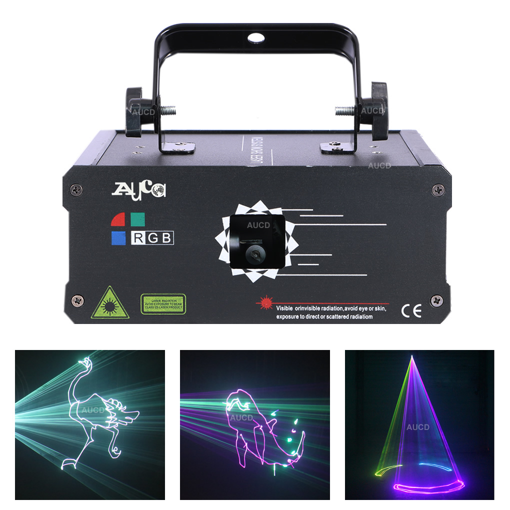 AUCD 30 KPPS 500mW 1W DMX Colorful RGB Animation Laser Projector Lights DJ Disco Party Beam Moving Scan Show Stage Lighting F6A