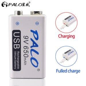 Image 4 - PALO 6pcs USB 9V 6F22 650mAh Rechargeable Battery 9 volt  fast charging lithium li ion li ion liion batteries