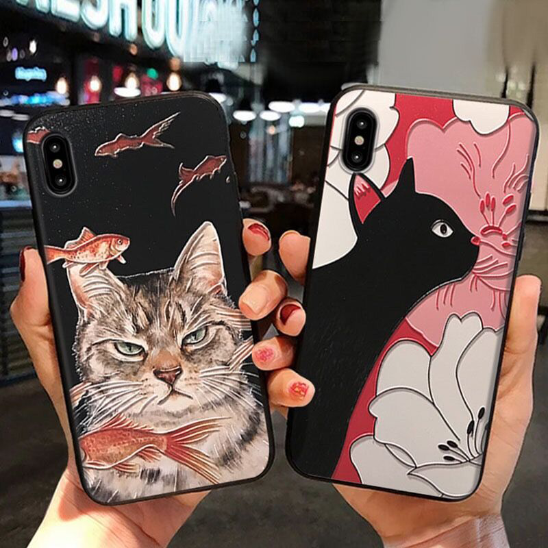 Cute Cat 3D Emboss Cover For <font><b>Huawei</b></font> <font><b>Honor</b></font> <font><b>8X</b></font> 10i 20i View 30 10 20 Lite Mate 30 20 10 P30 20 Pro P10 Lite 2017 P Smart 2019 Case image