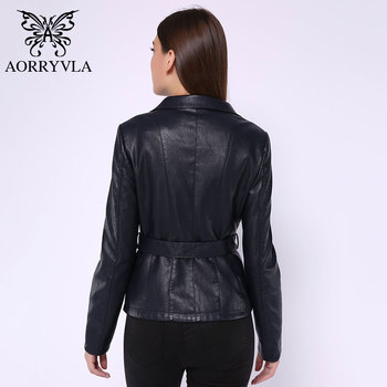 AORRYVLA New Spring Women Leather Jacket Red color Turn-Down Collar Short Length Slim Style Fashion Faux Leather Jacket 2020 1