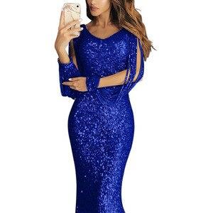 Image 3 - Lantejoulas tassel vestido de manga longa franja sukienka elegante vestidos de festa longos vestido de noite robe 2020 sexy vestido brilhante até o chão