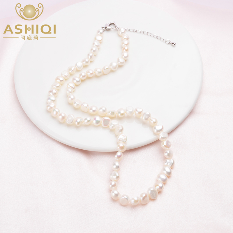 ASHIQI  Natural Freshwater Pearl Necklace Vintage Baroque Pearl Jewelry For Women 7-8mm