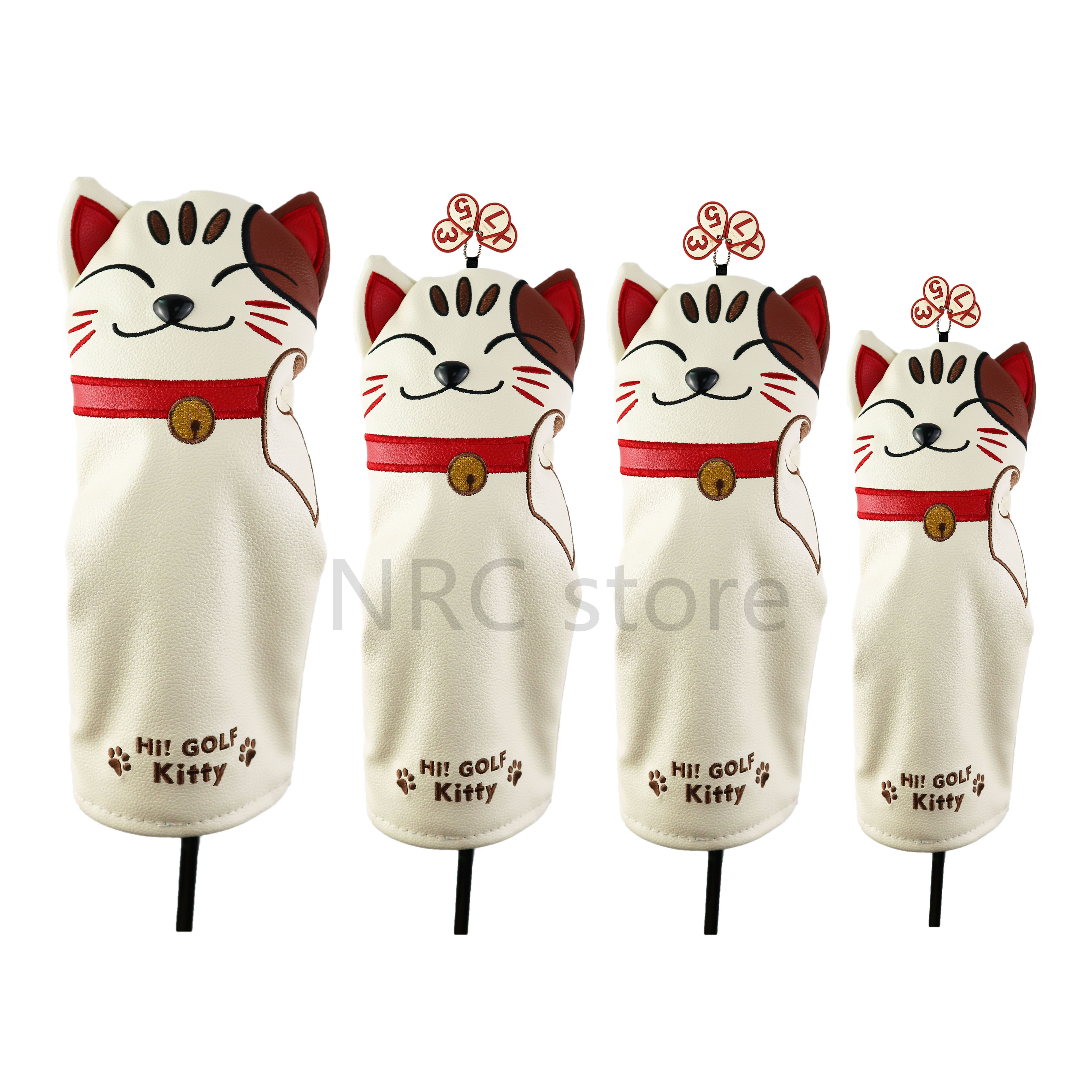 NRC Golf Club Head Covers Driver Fairway Wood Hybrid Covers Set  Lovely Golf Lucky Kitty Cartoon Animal Mallet Putter Wholesale