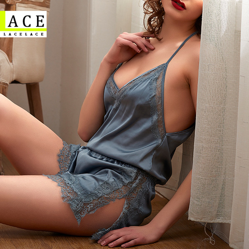 Satin Pajamas for Women 2021 Summer Ice Silk Home Clothes Lace V-Neck Sexy Lingerie Strap Set Ladies Nightie Short Trouser Suits