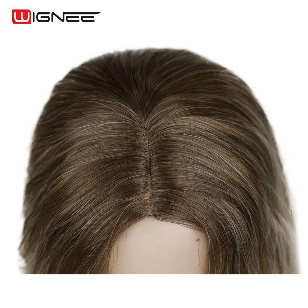 "Image 5 - Wignee Ombre Black To Blond Wig Side Part 14"" Synthetic Wigs for Women  Wavy  Cosplay Daily Heat Resistant Natural Short HairSynthetic None-Lace  Wigs   -"